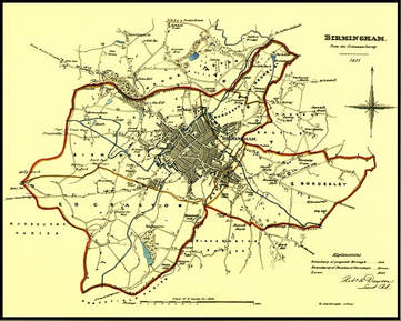 Image: Boundary of proposed borough of Birmingham 1831