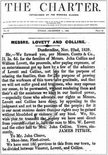 The Charter Newpaper.  Donations to Chartists Lovett and Collins