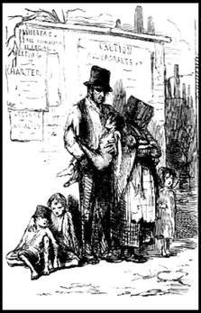 The poor in 1848 in United Kingdom.  Chartist poster on a wall.